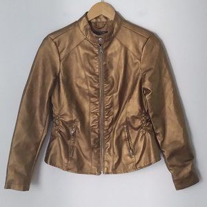 Baccini Gold Color Zip Up Metallic Moto Jacket